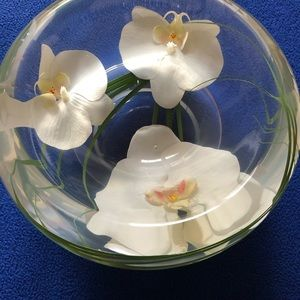 Emilio Robba Water Illusion White Orchids Art Bowl